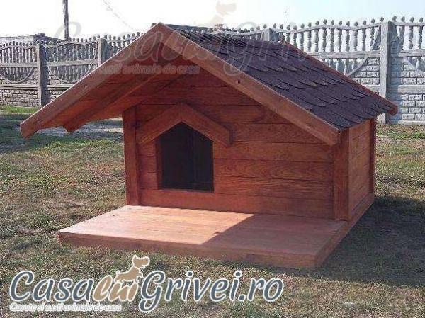 Cusca caine cu terasa veranda izolata termic lemn calitate model OLLIE marimea S talie mica