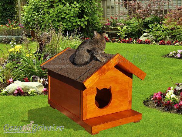 Cusca  Cotel Casuta lemn pisica pisici deosebita , Izolata termic iarna caldura, model  LILY 01.jpg
