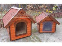 Custi pentru caini izolate termic din lemn talie mare model JAX
